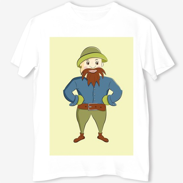 Футболка «человечек с бородой в шляпе, забавный персонаж»