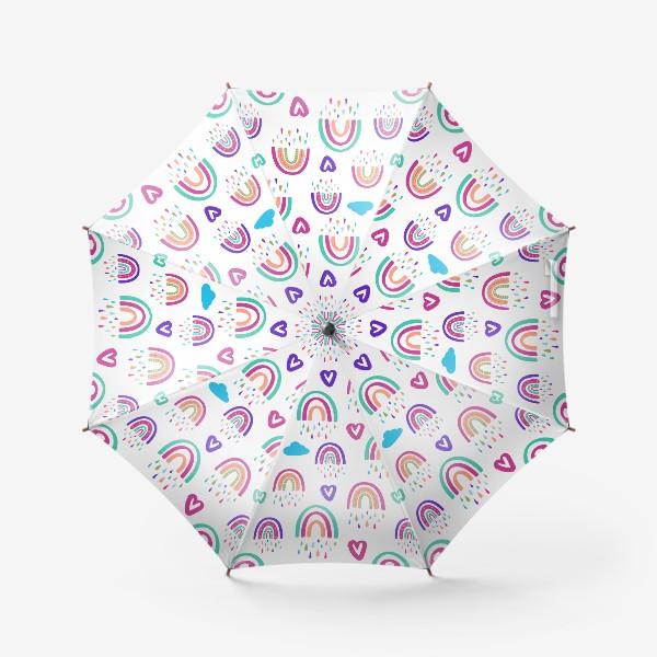 Зонт «Симпатичный паттерн с радугой, сердечками, облаком»