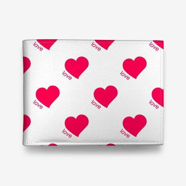 Кошелек «Розовые сердечки и любовь на белом фоне. Романтический орнамент»