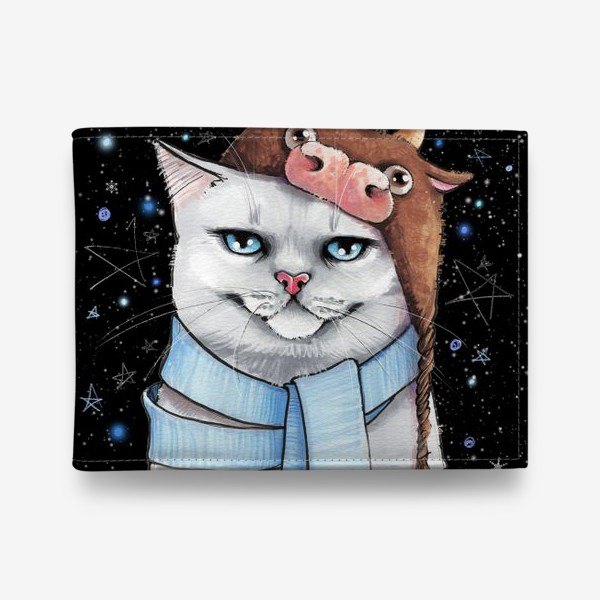 Кошелек «кот в шапке с быком нг 2021 - черный фон »