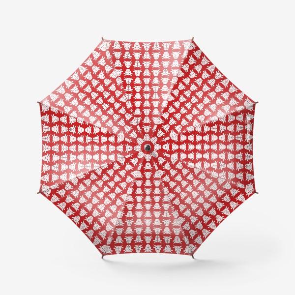 Зонт «Узор на красном фоне. Год Быка.»