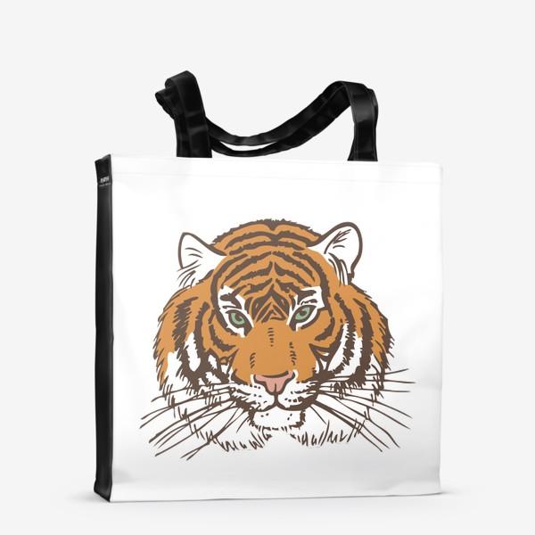 Сумка-шоппер «Голова тигра иллюстрация цветная»