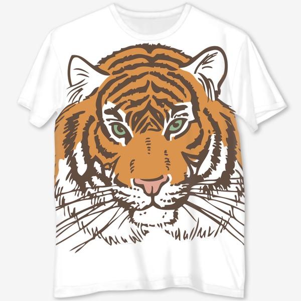 Футболка с полной запечаткой «Голова тигра иллюстрация цветная»