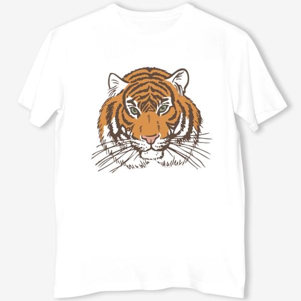 Футболка «Голова тигра иллюстрация цветная»