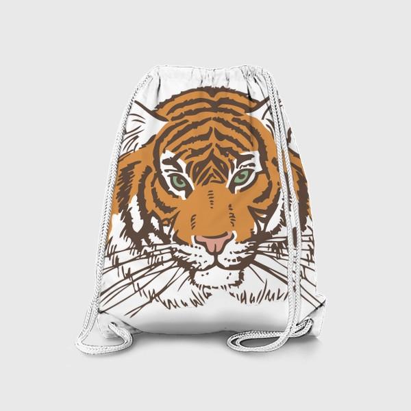 Рюкзак «Голова тигра иллюстрация цветная»