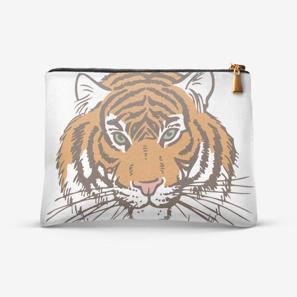Косметичка «Голова тигра иллюстрация цветная»
