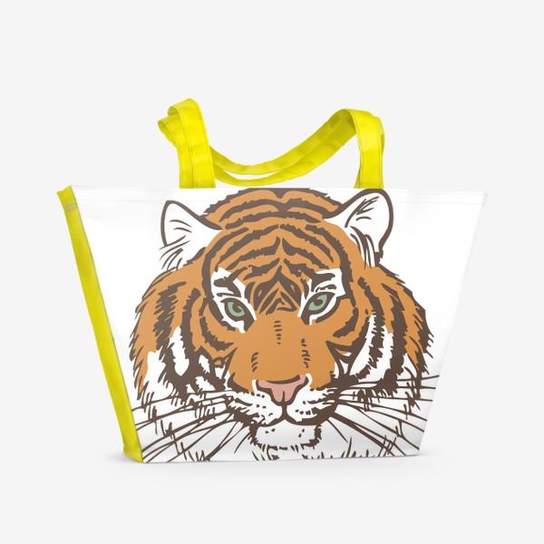 Пляжная сумка «Голова тигра иллюстрация цветная»