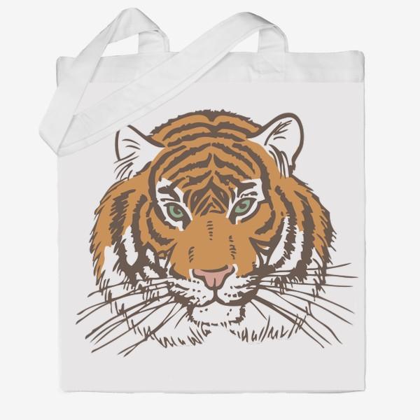 Сумка хб «Голова тигра иллюстрация цветная»