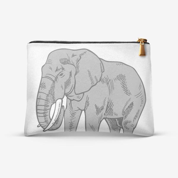 Косметичка «Слон серый иллюстрация »