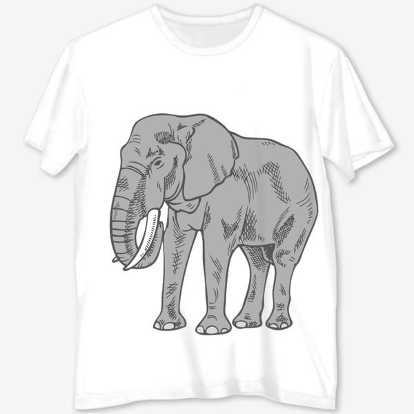 Футболка с полной запечаткой «Слон серый иллюстрация »