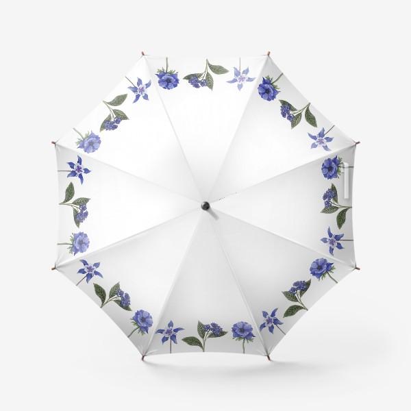 Зонт «Синие цветы. Ботаника»