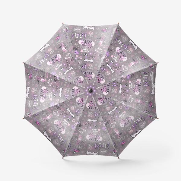 Зонт «Cool Girl. Паттерн для девушки с леттерингом.»