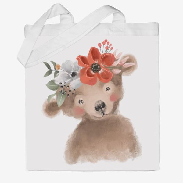 Сумка хб «Мишка с цветочным венком»