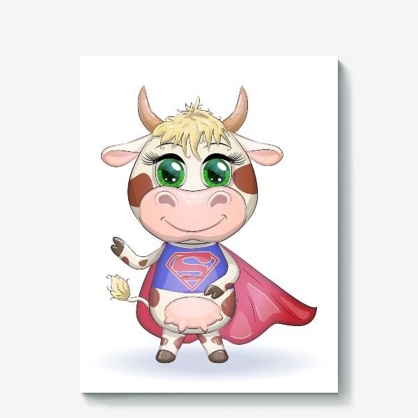 Холст «Бык, символ 2021 года, корова супер-герой спешит на помощь»