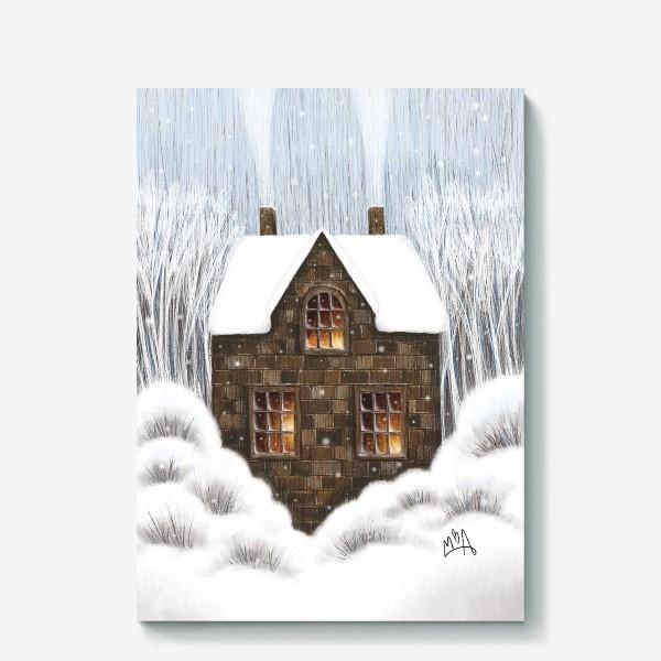 Холст «Уютный зимний дом рождество новый год снегопад»