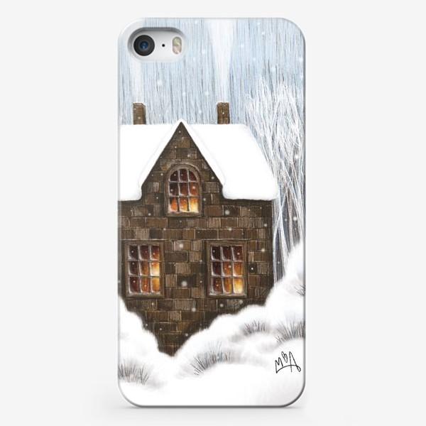 Чехол iPhone «Уютный зимний дом рождество новый год снегопад»