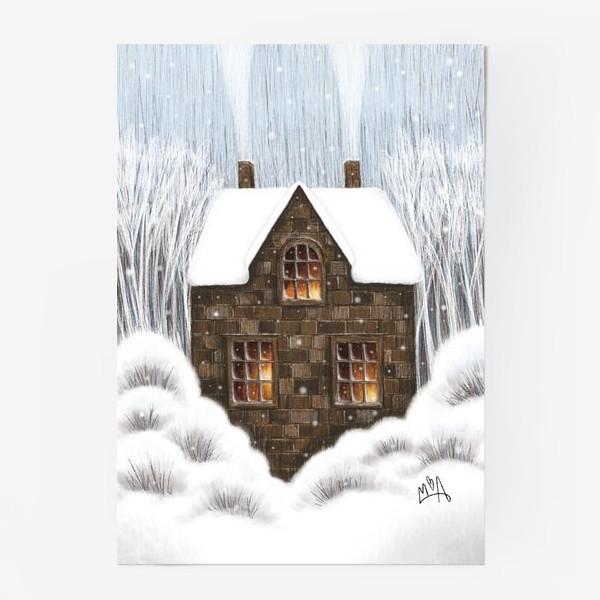 Постер «Уютный зимний дом рождество новый год снегопад»