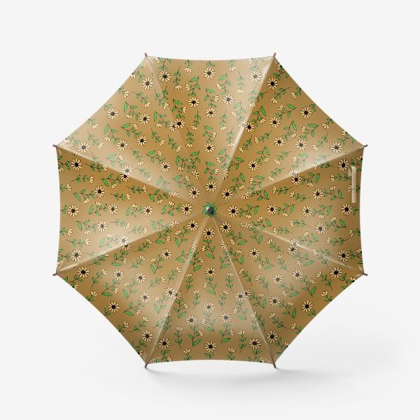 Зонт «Цветочки на желтом фоне»