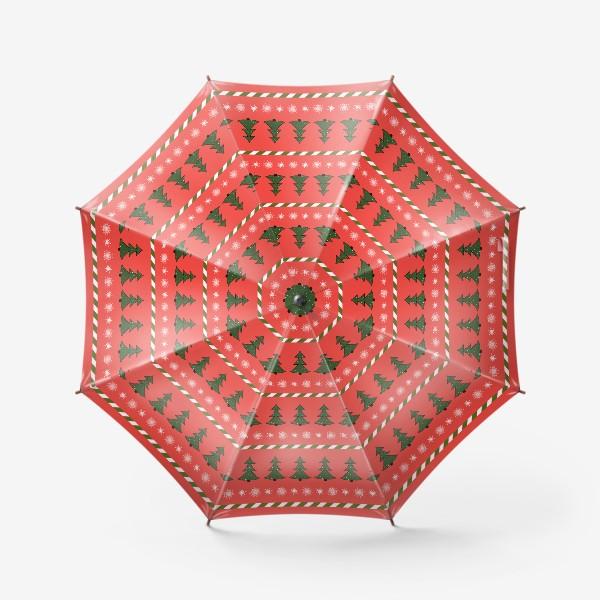 Зонт «ёлочки на красном»