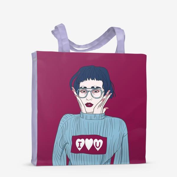 Сумка-шоппер «девушка в голубом свитере I love u на винном фоне»