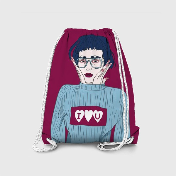 Рюкзак «девушка в голубом свитере I love u на винном фоне»