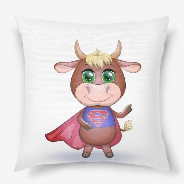 Подушка «Бык, символ 2021 года, бык-супер герой спешит на помощь 2»
