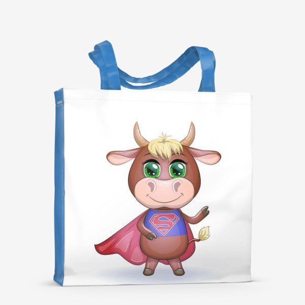 Сумка-шоппер «Бык, символ 2021 года, бык-супер герой спешит на помощь 2»