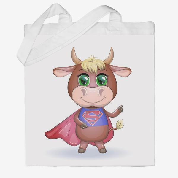 Сумка хб «Бык, символ 2021 года, бык-супер герой спешит на помощь 2»