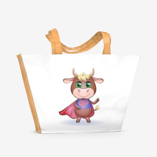 Пляжная сумка «Бык, символ 2021 года, бык-супер герой спешит на помощь 2»