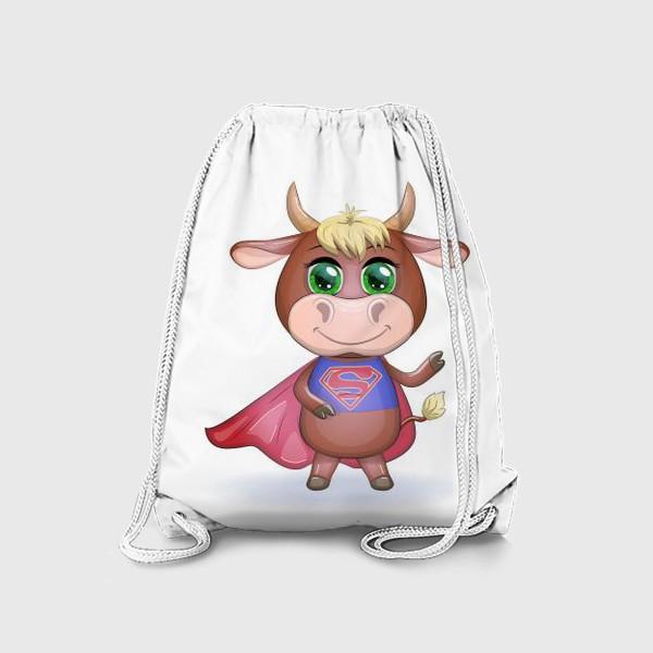 Рюкзак «Бык, символ 2021 года, бык-супер герой спешит на помощь 2»