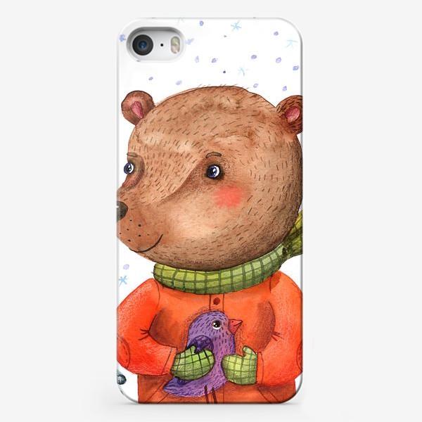 Чехол iPhone «Мишка с птичкой»