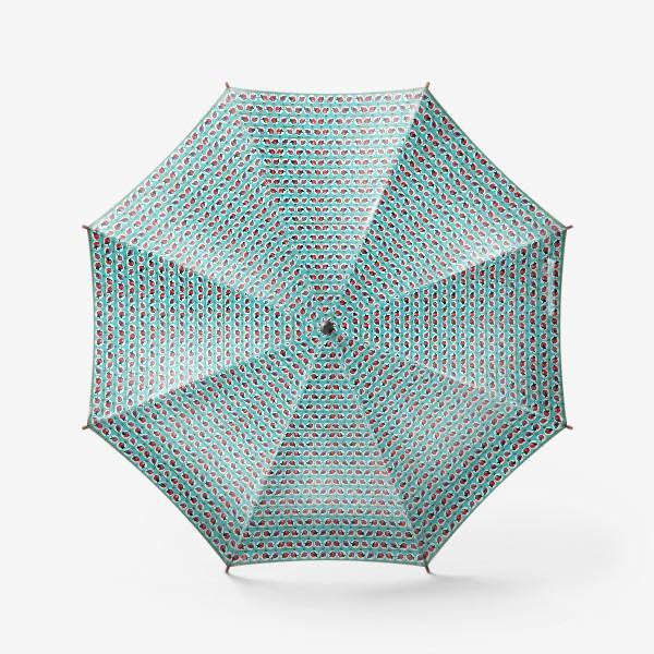 Зонт «Новогодние ёлочные шарики со снегирями паттерн на бирюзовом фоне»