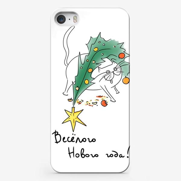 Чехол iPhone «Веселый Новый год! Новогодний кот с елкой »