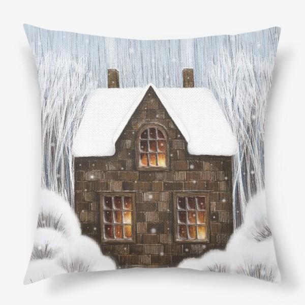 Подушка «Уютный зимний дом рождество новый год снегопад»