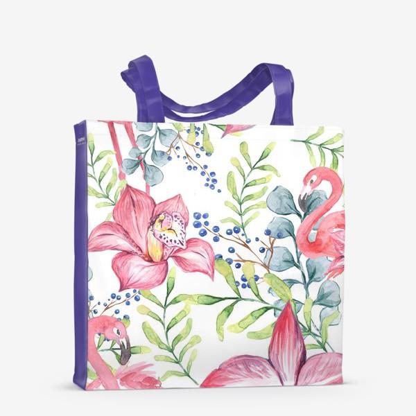 Сумка-шоппер «Орхидея Фламинго паттерн цветы птицы»