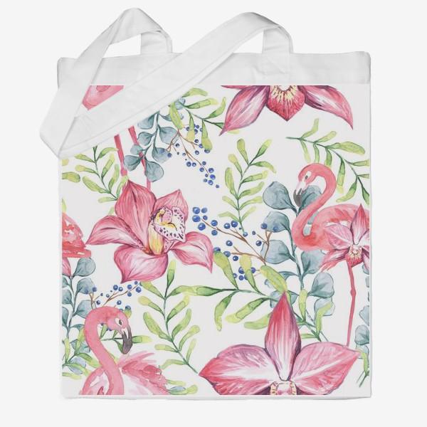 Сумка хб «Орхидея Фламинго паттерн цветы птицы»