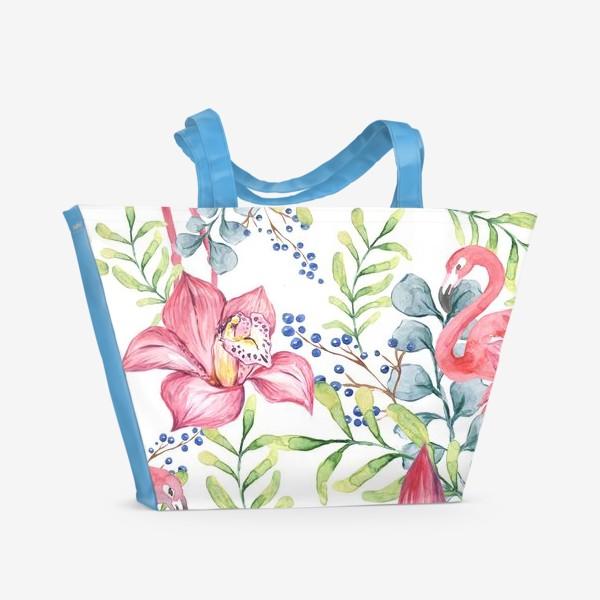 Пляжная сумка «Орхидея Фламинго паттерн цветы птицы»