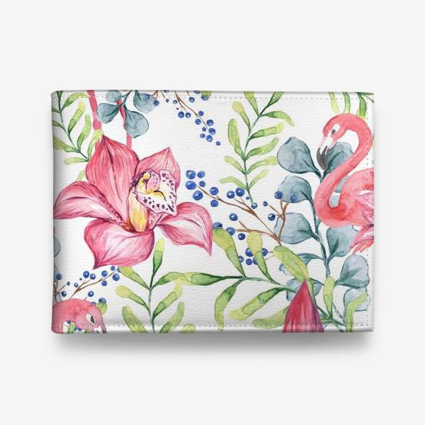 Кошелек «Орхидея Фламинго паттерн цветы птицы»