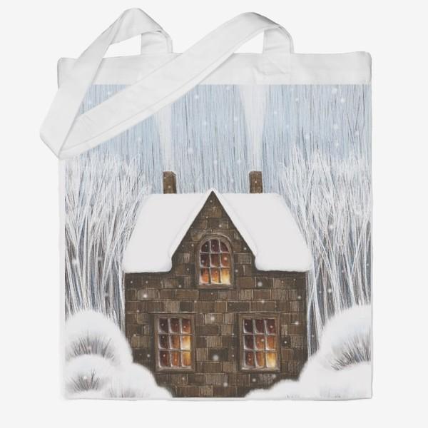 Сумка хб «Уютный зимний дом рождество новый год снегопад»
