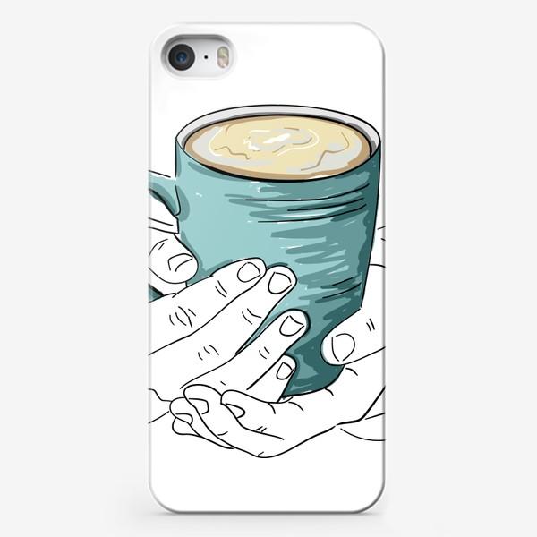 Чехол iPhone «Чашка кофе, какао, чая в руках. Горячий напиток в кружке согревает душу»
