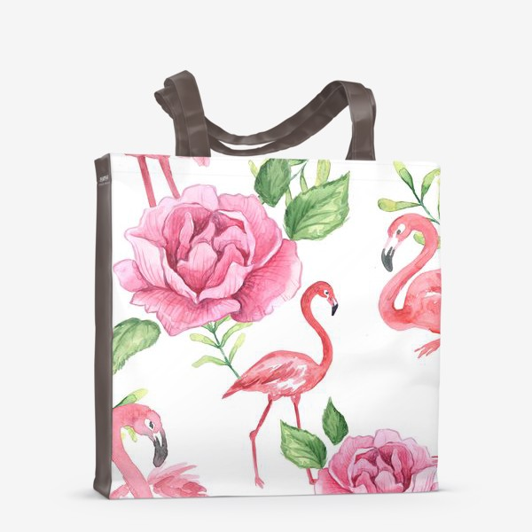 Сумка-шоппер «Паттерн Флмаинго Пион Цветы и птицы»