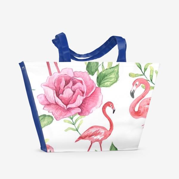 Пляжная сумка «Паттерн Флмаинго Пион Цветы и птицы»