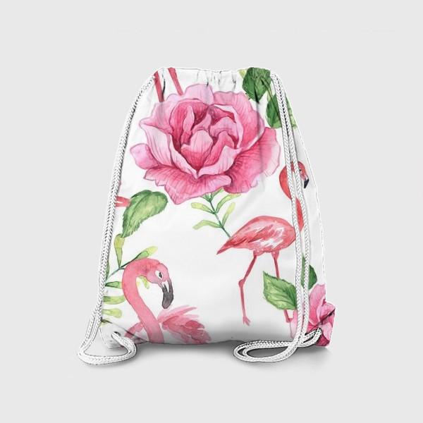 Рюкзак «Паттерн Флмаинго Пион Цветы и птицы»