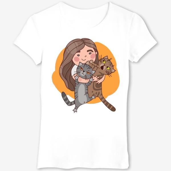 Футболка «девочка с котиками»
