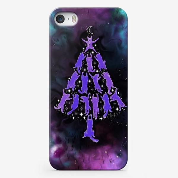 Чехол iPhone «Космические корабли  коты Новогодний космос ёлка  »