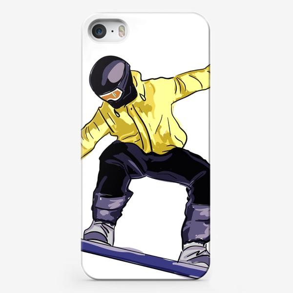 Чехол iPhone «Сноубордист в полете. Спортсмен катается на доске для сноуборда»