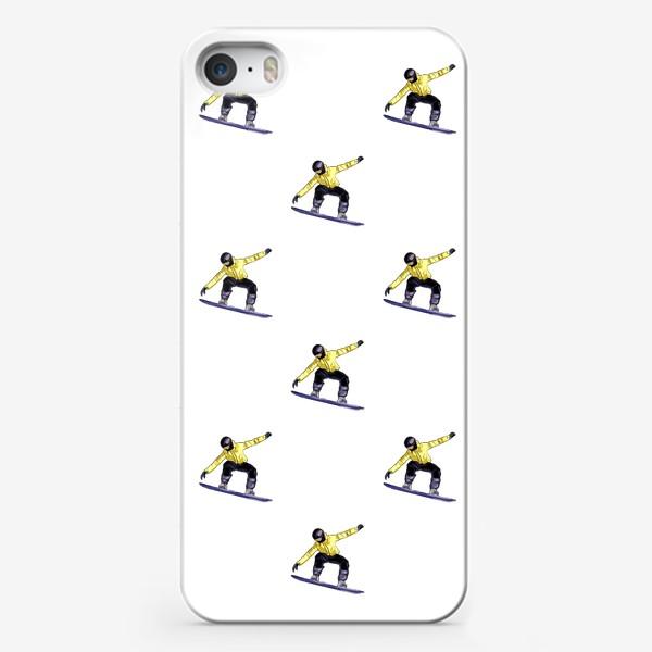 Чехол iPhone «Орнамент из силуэта сноубордиста. Спортсмен в полете на доске для сноубординга»
