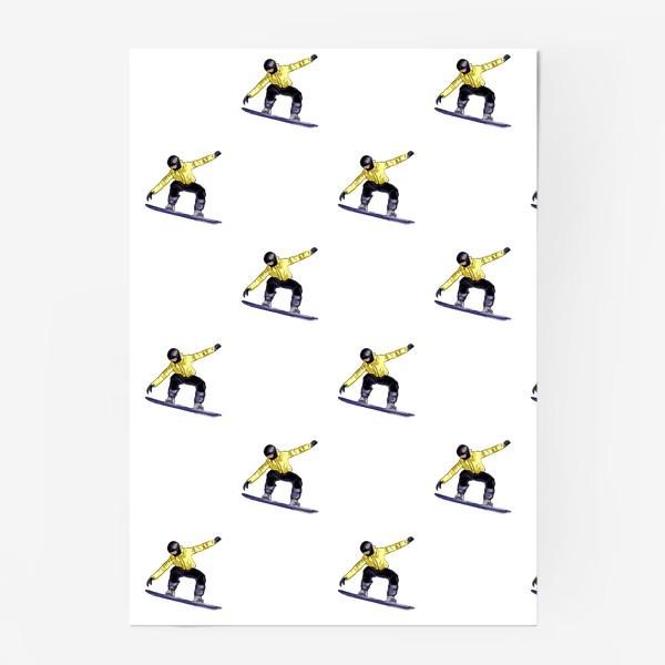 Постер «Орнамент из силуэта сноубордиста. Спортсмен в полете на доске для сноубординга»