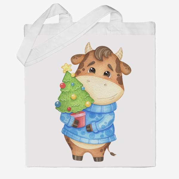 Сумка хб «Акварельный бык с ёлкой, милый новогодний принт»