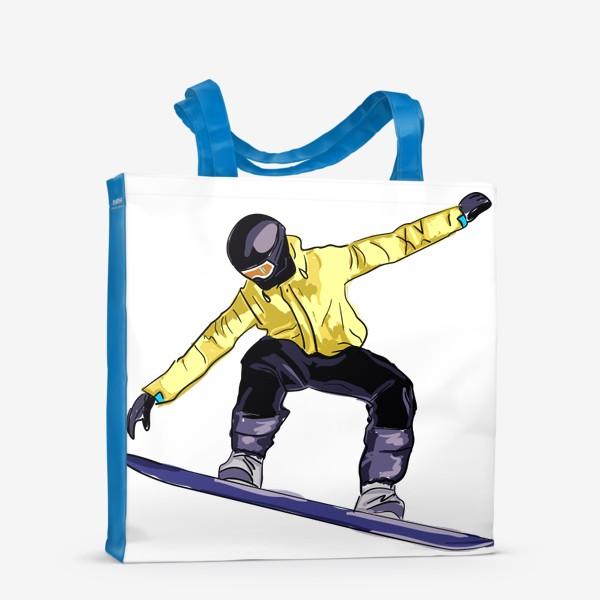 Сумка-шоппер «Сноубордист в полете. Спортсмен катается на доске для сноуборда»